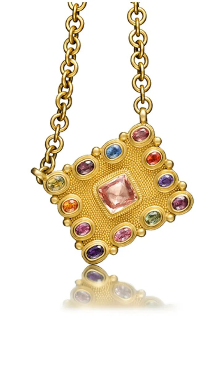 Reinstein Ross Byzantine square necklace in gold with gemstones.