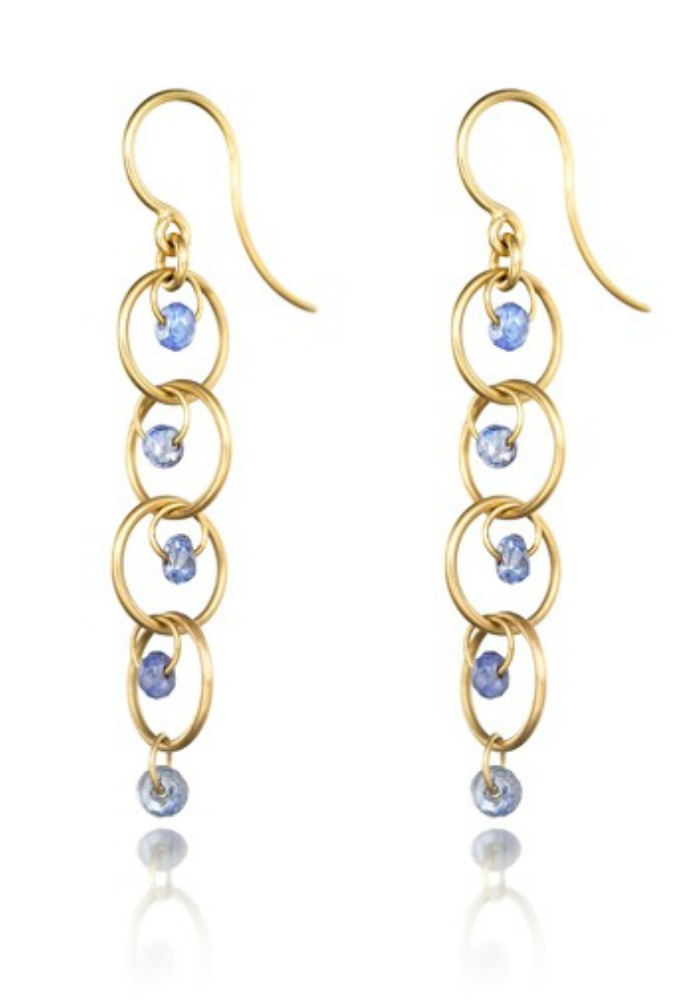 Reinstein Ross blue sapphire earrings in gold.