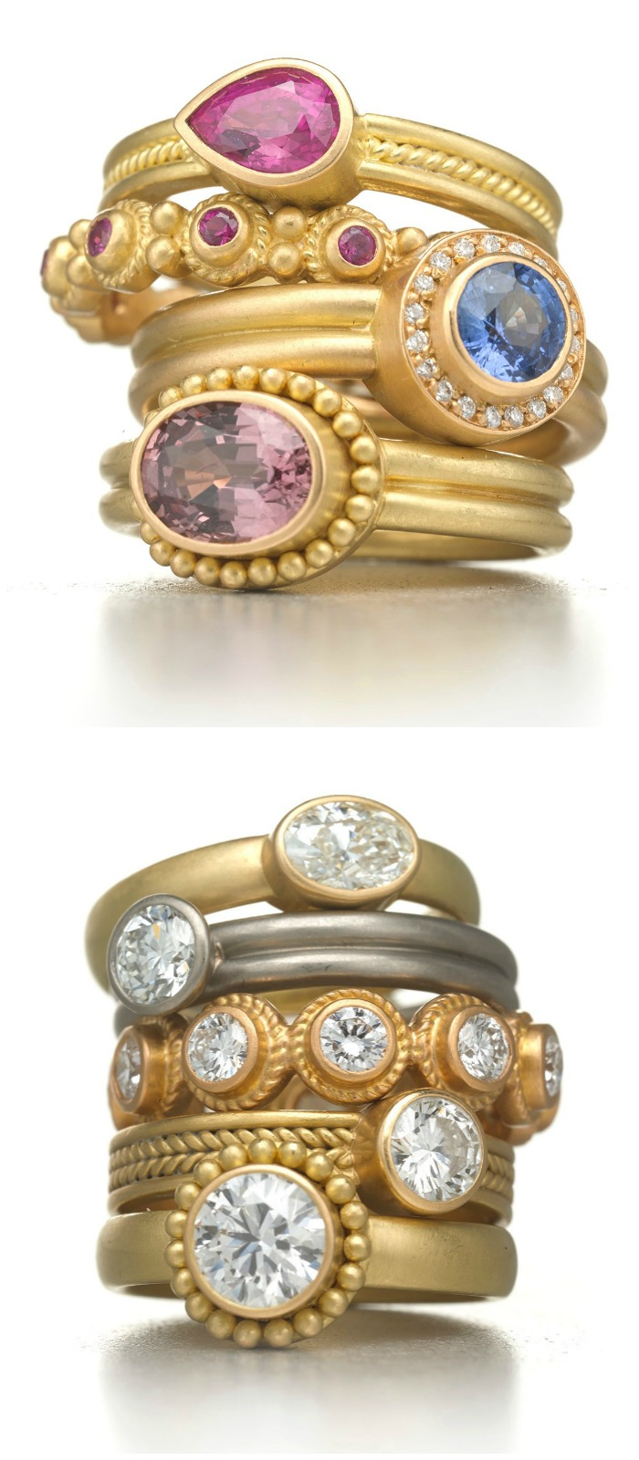 Rings by Reinstein Ross, in gold with diamonds and colored gemstones .