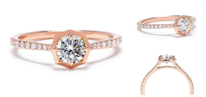 The Jade Trau Clara engagement ring setting in rose gold. One of my favorite contemporary engagement rings.