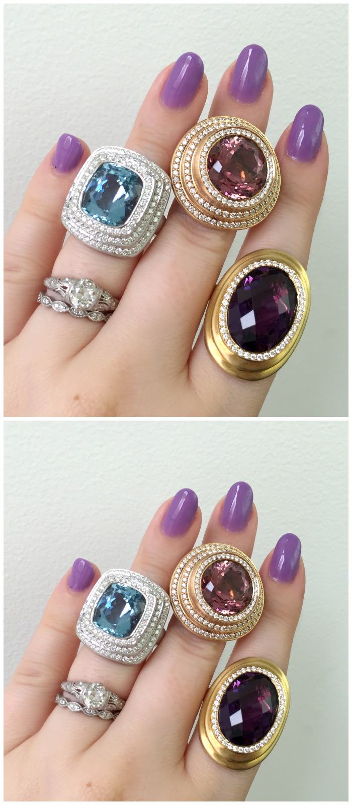 Three fantastic gemstone and diamond rings by Carelle.