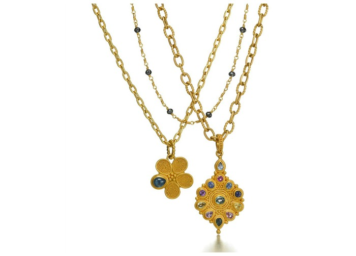 Two beautiful gold and gemstone necklaces by Reinstein Ross.