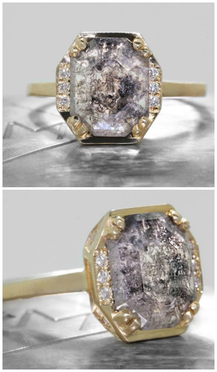 A 1.90 carat salt and pepper diamond engagement ring from Chinchar Maloney's The New Classic Collection.