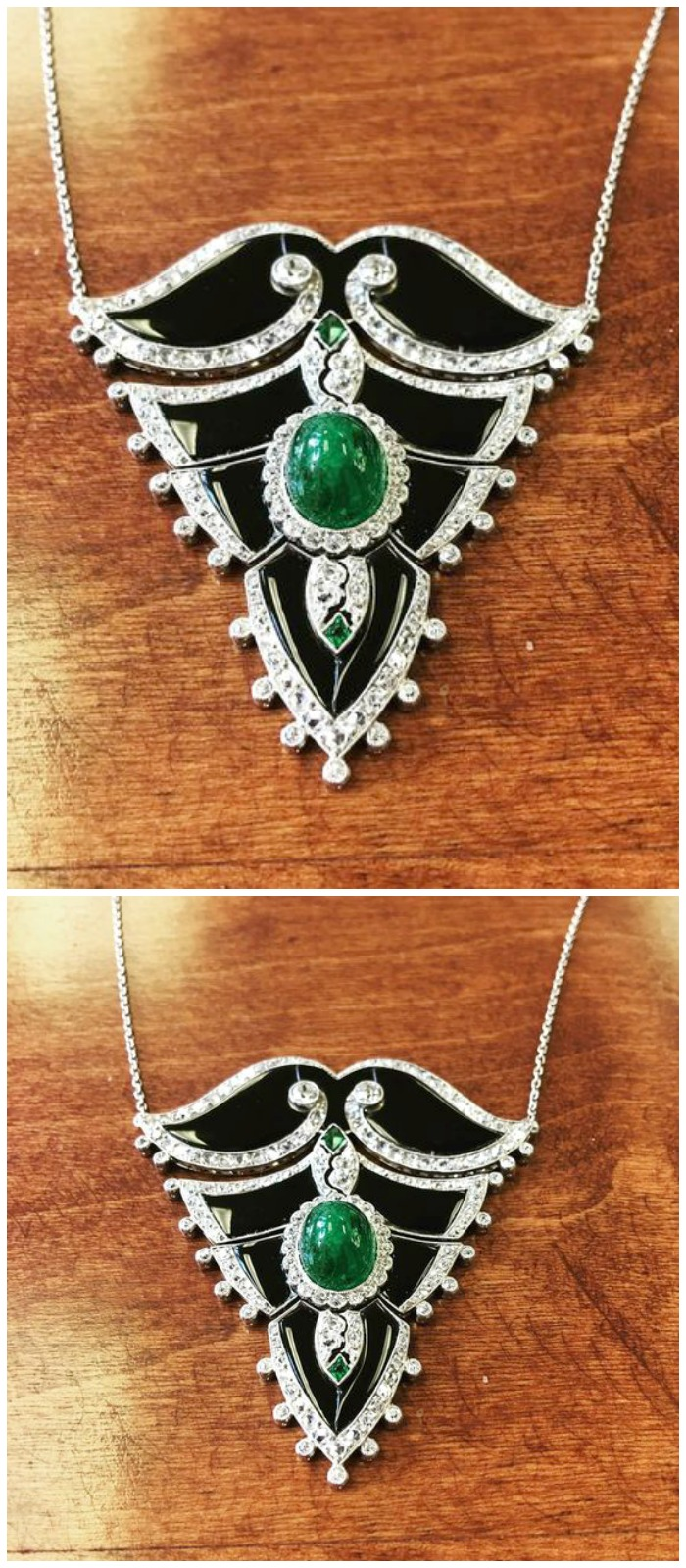 A beautiful Art Deco necklace from the 1930's, with onyx, diamonds, and emeralds. At M. Khordipour.