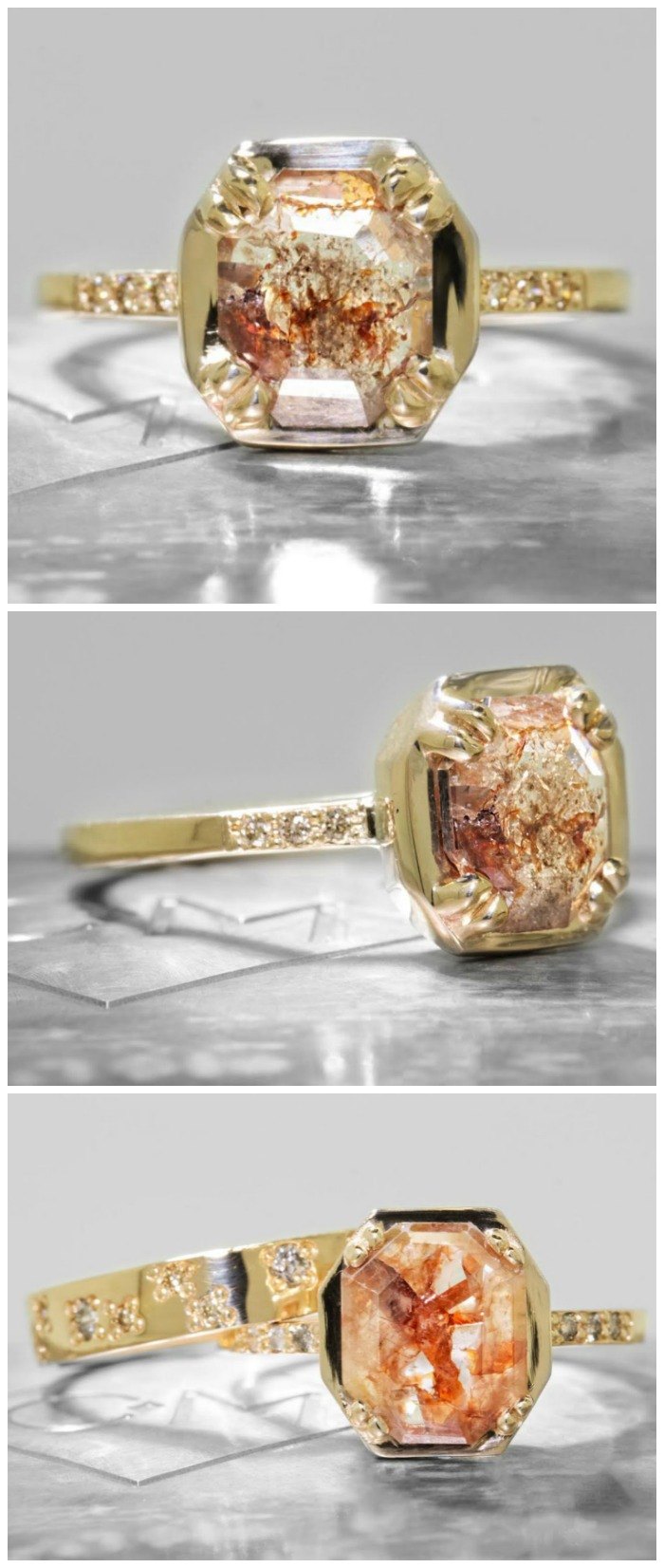 A natural 1.22 carat rust and champagne diamond engagement ring from Chinchar Maloney's The New Classic Collection.