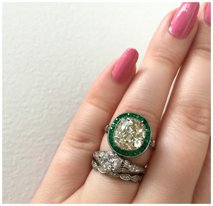 A stunning antique engagment ring from Jewels by Grace, with a delicious antique center stone and an emerald halo. Spotted at Metal and Smith..
