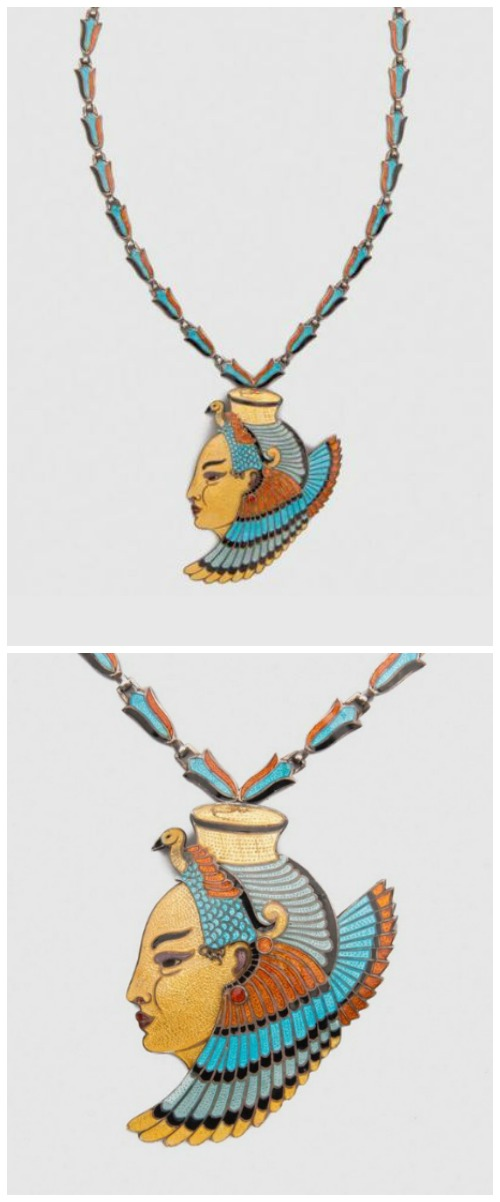 An incredibly cool Egyptian revival style enameled silver necklace by renowned Mexican jewelry designer, Margot de Taxco.