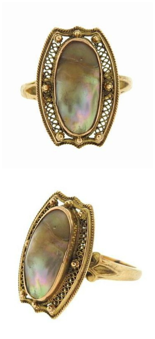 Antique abalone ring in 10K gold filigree.