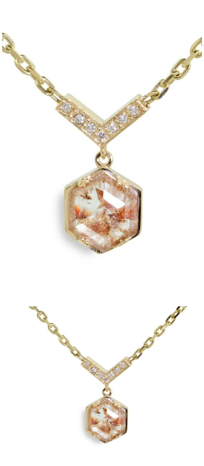 ChincharMaloney's beautiful Mallahle necklace in yellow gold with 1.46 carat peach and white diamond.