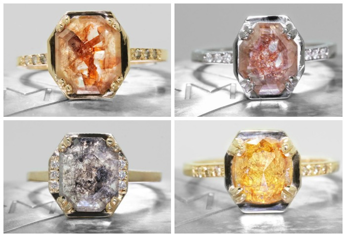 Natural diamond engagement rings from Chinchar Maloney's The New Classic collection.