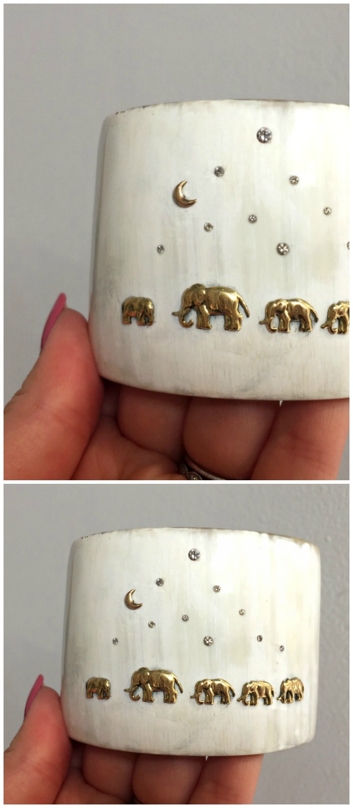 This cuff by Shompole Collection shows the moment of an orphaned baby elephant being adopted by a new herd.