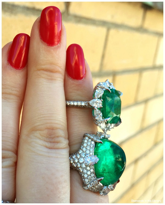 Two emerald and diamond rings by VALANI.