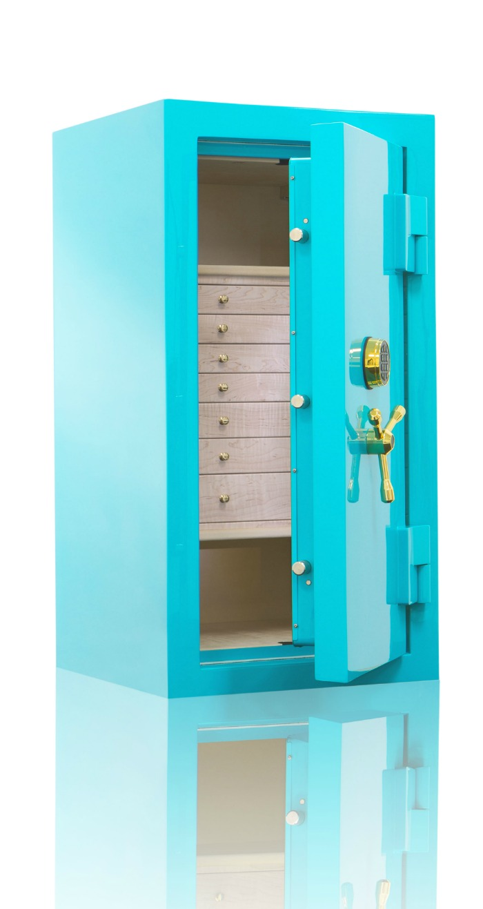 A beautiful custom safe form Brown Safes. I love this teal color!