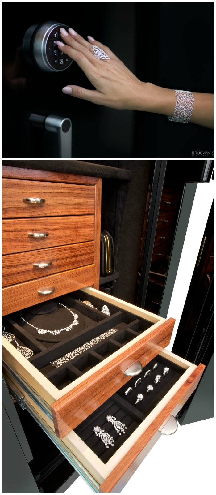 A luxurious custom safe from Brown Safes. I want to give my jewelry a home like this!