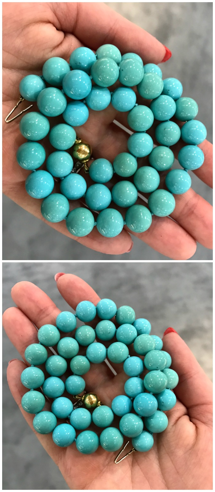 A necklace of rare, spectacular Sleeping Beauty turquoise beads by Inner Circle.