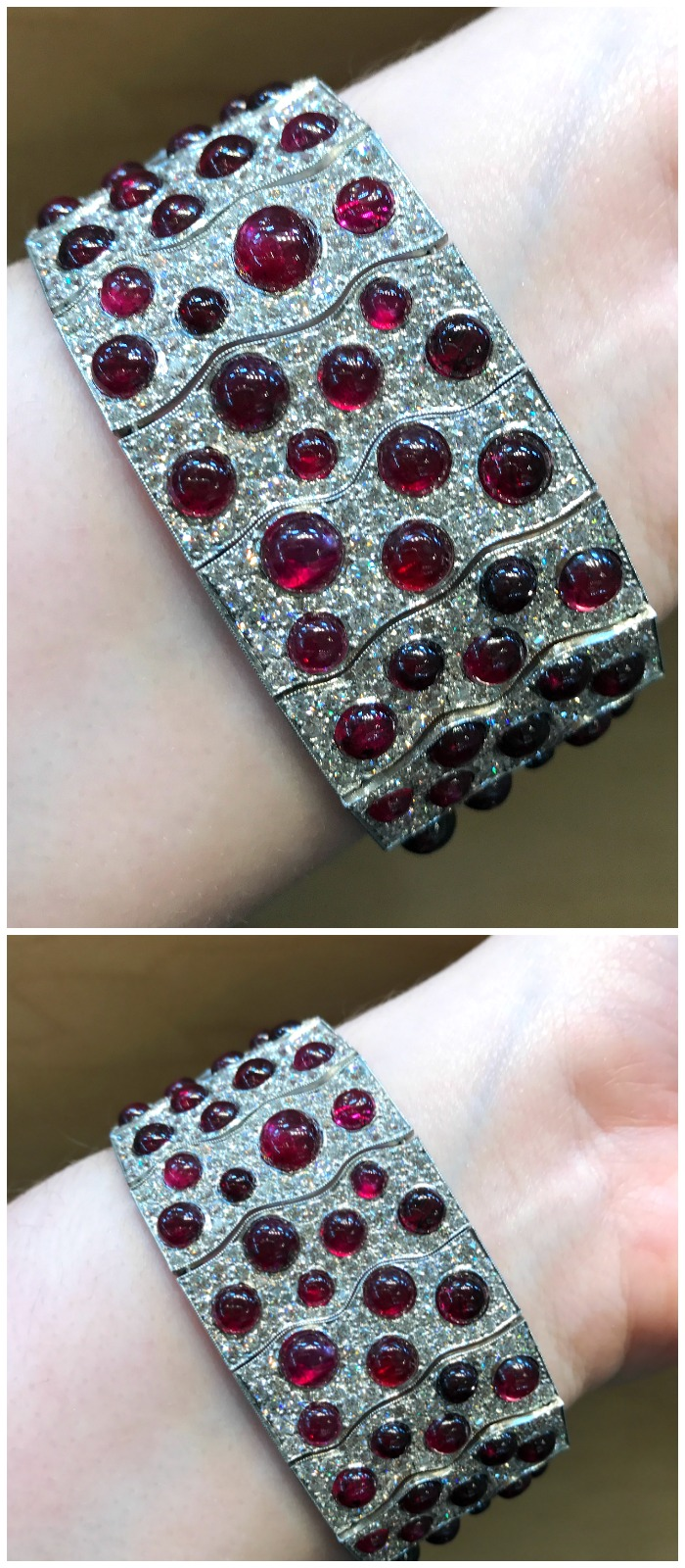 A stunning cabochon ruby and diamond bracelet from Pioneer Gems.