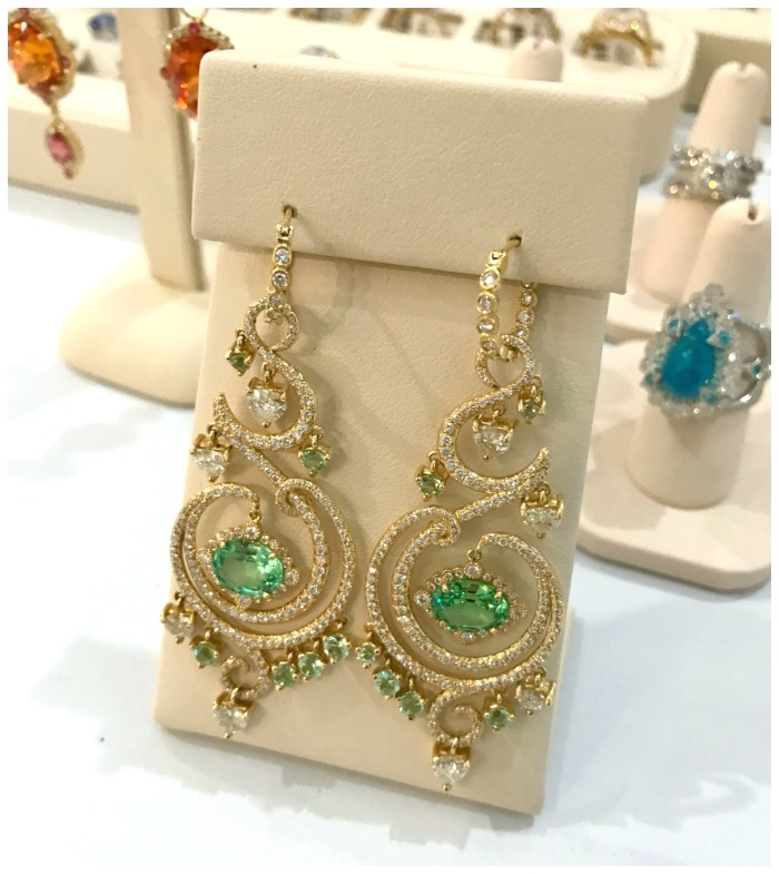 A stunning pair of gemstone and diamond earrings from Erica Courtney.