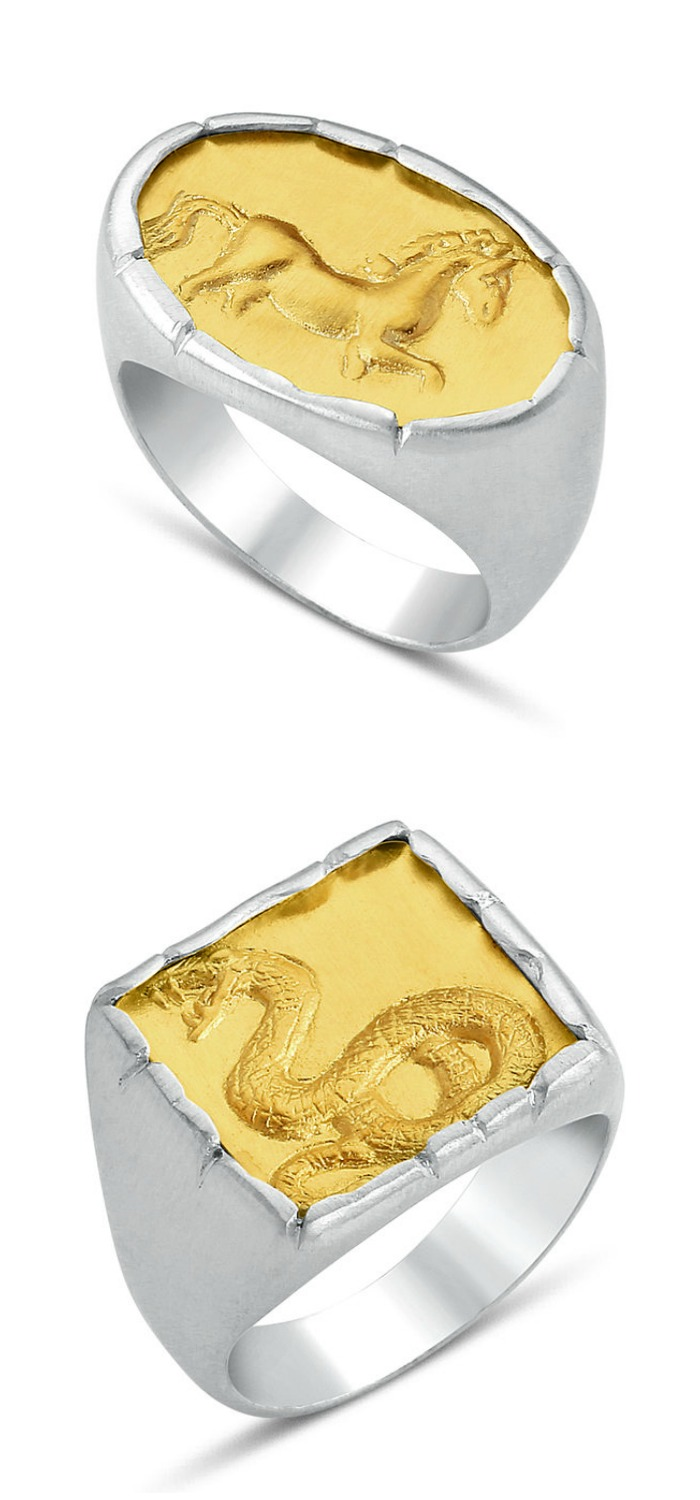 Animal signet rings by Stella Flame jewelry.