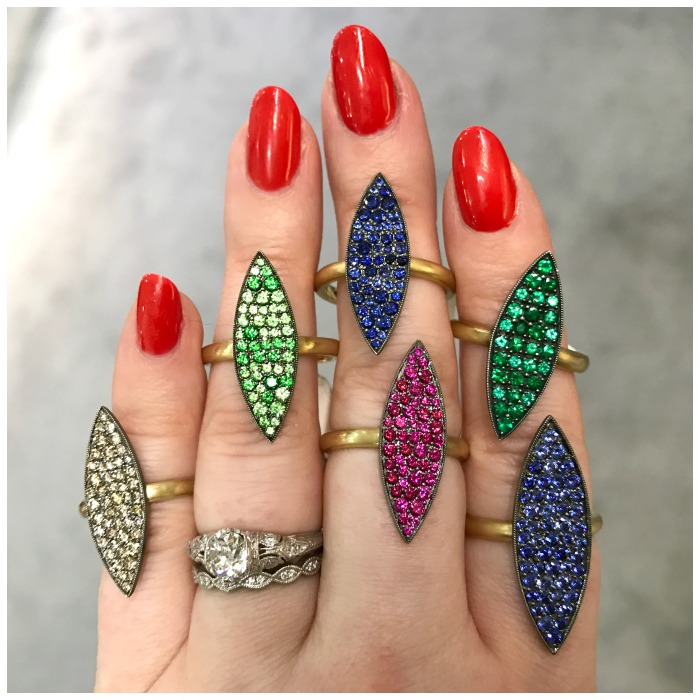 Bright gemstone rings by Kimberly Collins. I want them all!