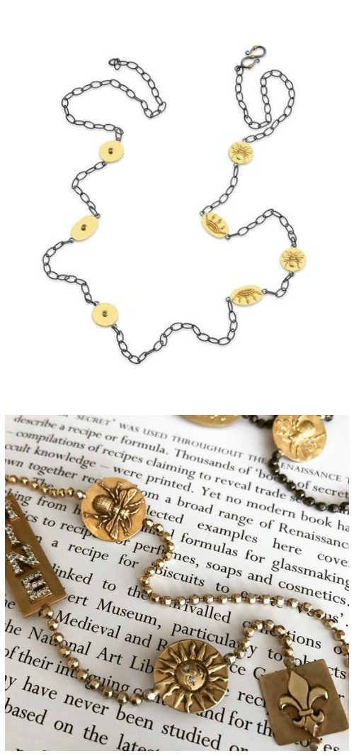 Jewelry designer Stella Flame's Story Chain necklaces use gold amulets to tell the wearer's story.