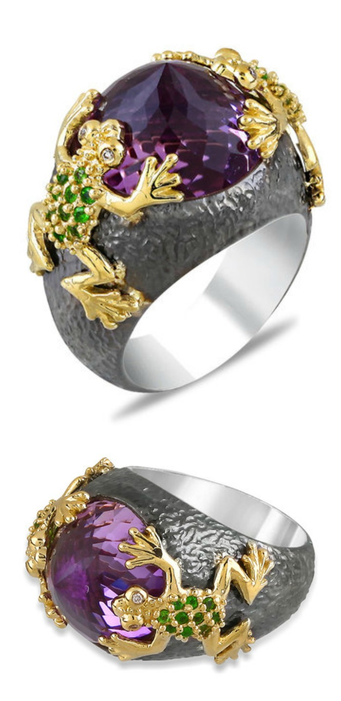 Stella Flame's Beauty and the Beast frog ring. Look at that beautiful amethyst!
