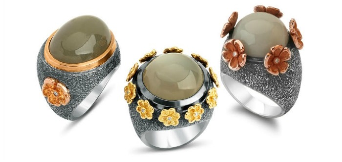 Three rings by Stella Flame jewelry.