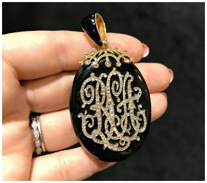 A beautiful antique diamond monogram locket from Craig Evan Small. Seen at the Original Miami Antique Show.