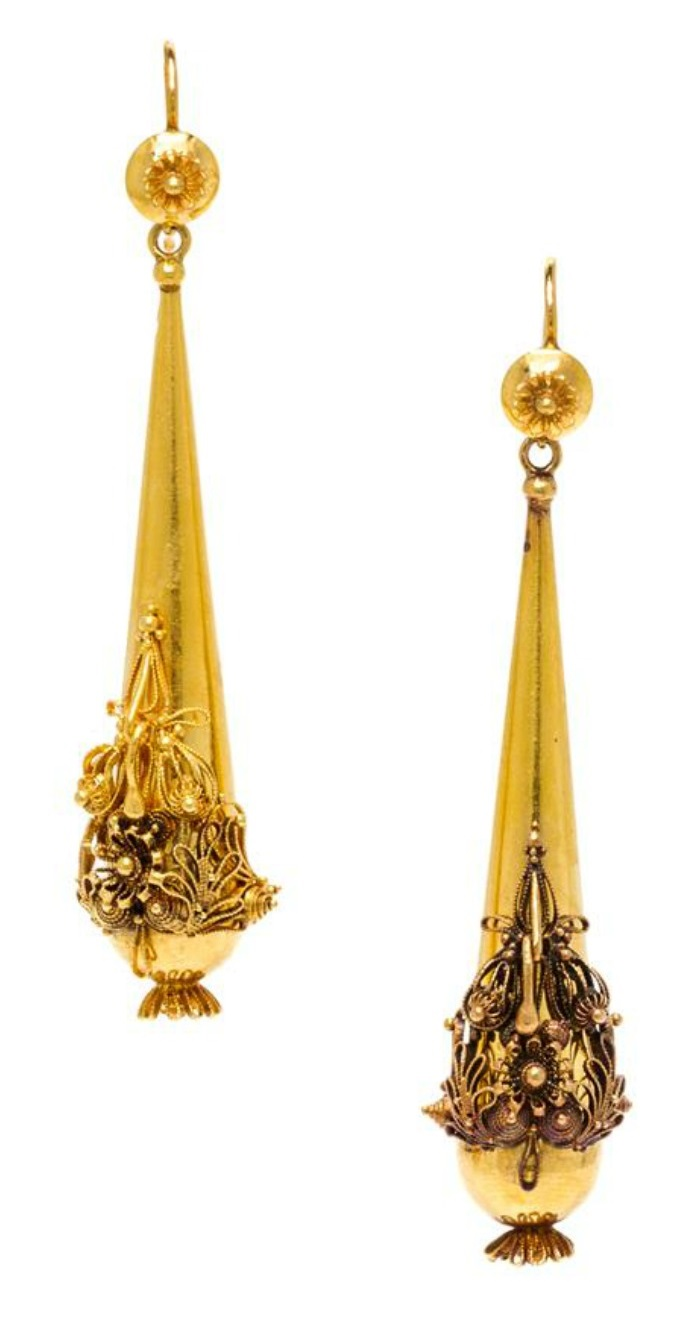 A pair of Victorian era yellow gold earrings with cannetille detailing.