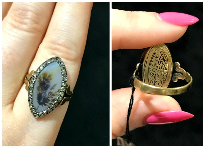A rare and beautiful antique agate and diamond ring from Craig Evan Small. Seen at the Original Miami Antique Show.