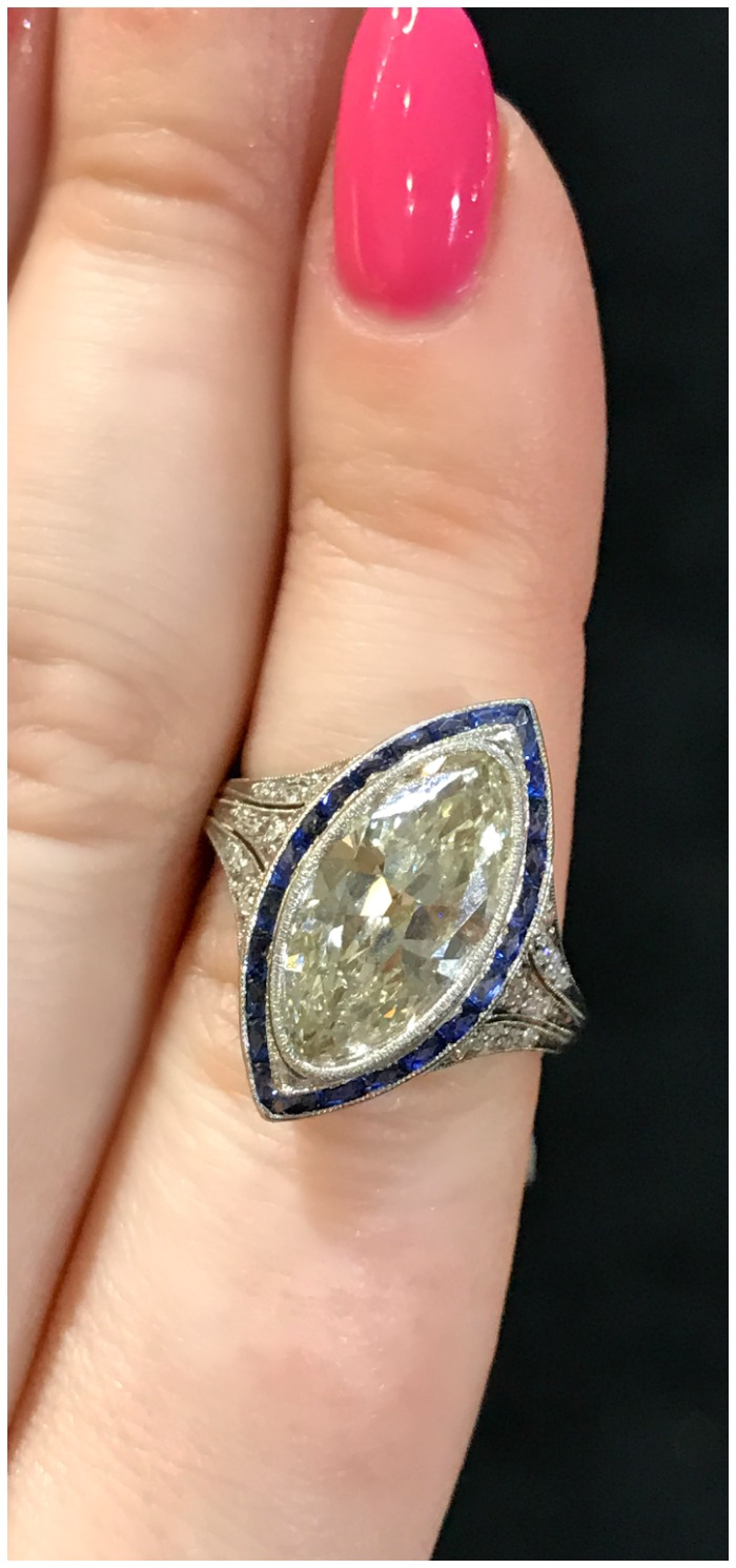 A stunning antique Art Deco engagement ring from DK Bressler. Seen at the Original Miami Antique Show.
