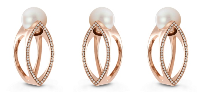 18k rose gold and cultured pearl ring with diamonds by Beolli for Vitae Ascendere.