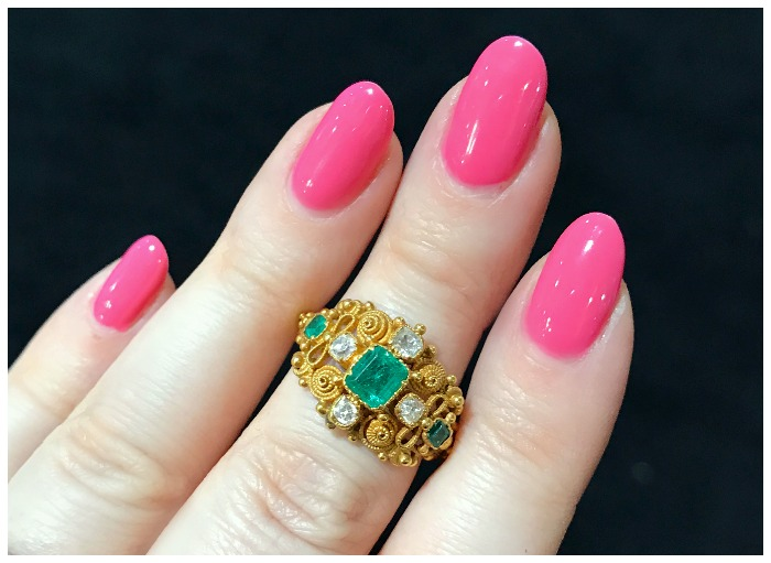 An exquisite emerald and diamond cannetille work ring. From The Spare Room, circa 1820.