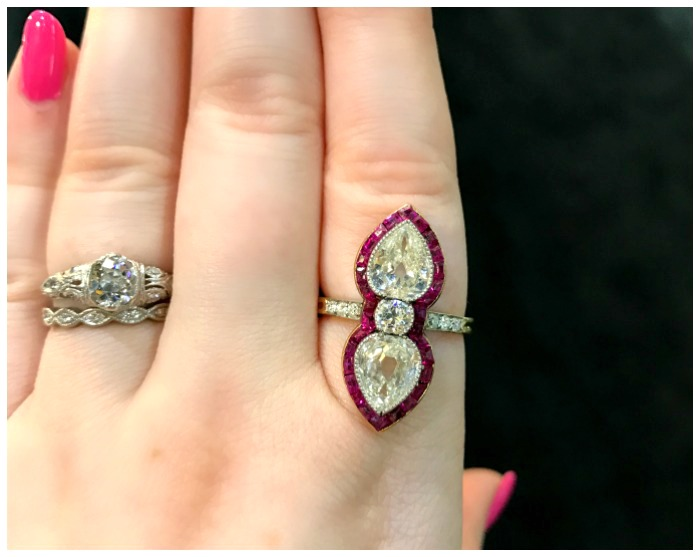 An incredible antique ruby and diamond ring from Faerber New York. Seen at the Original Miami Antique Show.