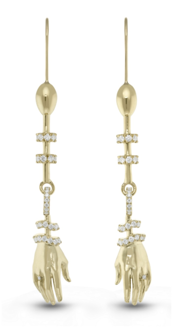 Beolli for Vitae Ascendere 18K yellow gold hand earrings with diamonds.
