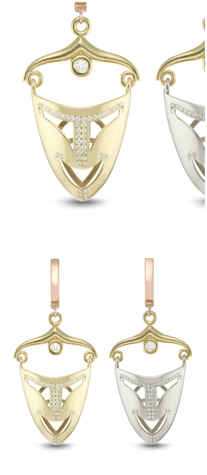 The Mask diamond earrings by Beolli for Vitae Ascendere. In rose, white, and yellow gold.