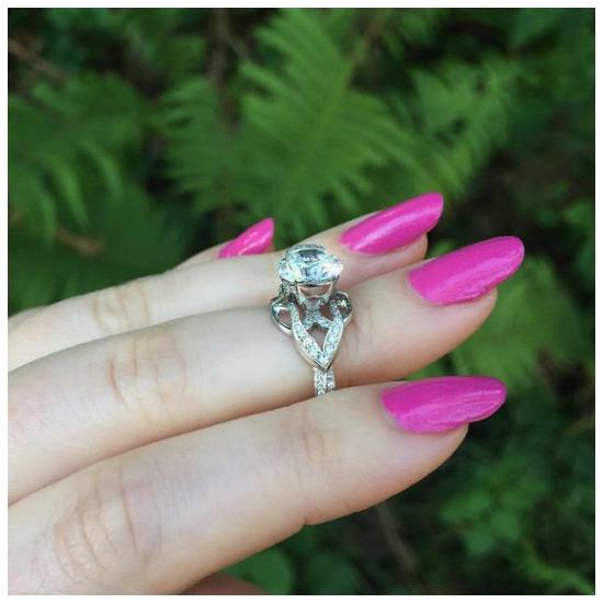 The elegant Paisley Tri diamond engagement ring by MaeVona.
