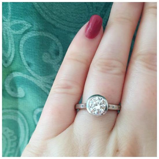 The lovely Kinross bezel set engagement ring by MaeVona.