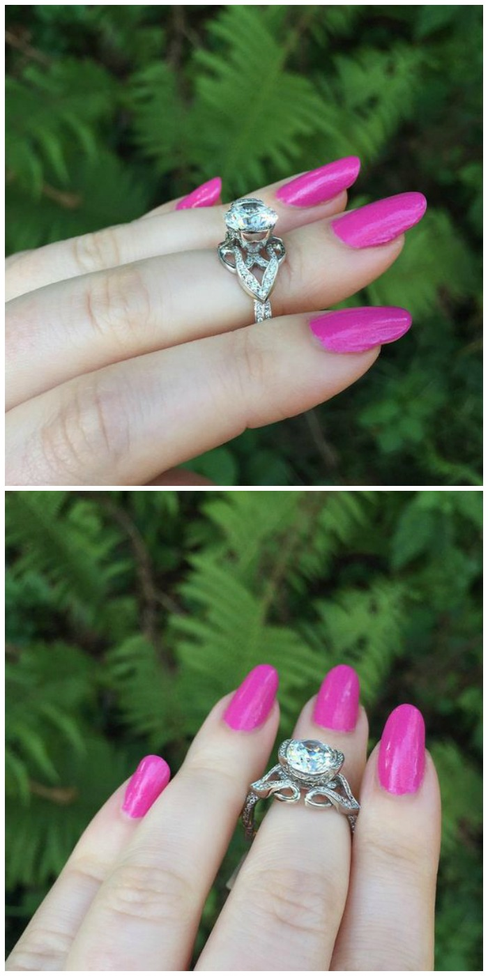The lovely Paisley Tri engagement ring by MaeVona.