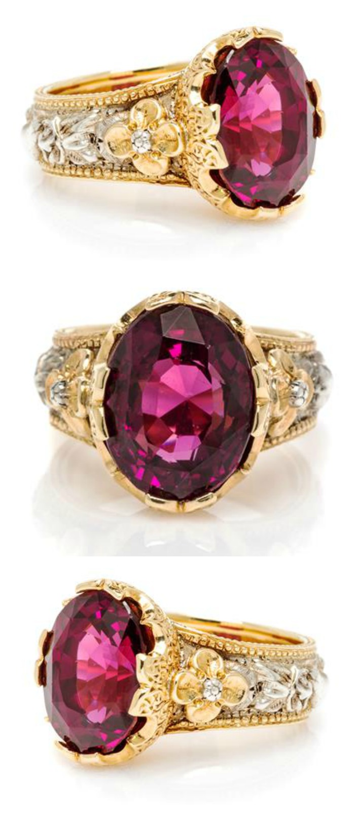 What a beauty! I love this rhodolite garnet ring by Frederico Bccellati - especially the silver and gold designs around the band.