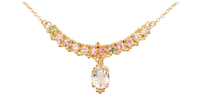 A beautiful handmade necklace by Ruta Reifen, with colorful sapphires and morganite in yellow gold.