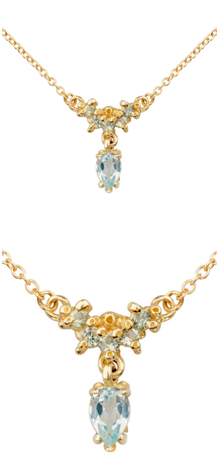 A beautiful handmade necklace by Ruta Reifen, with sapphires and aquamarine gemstones.