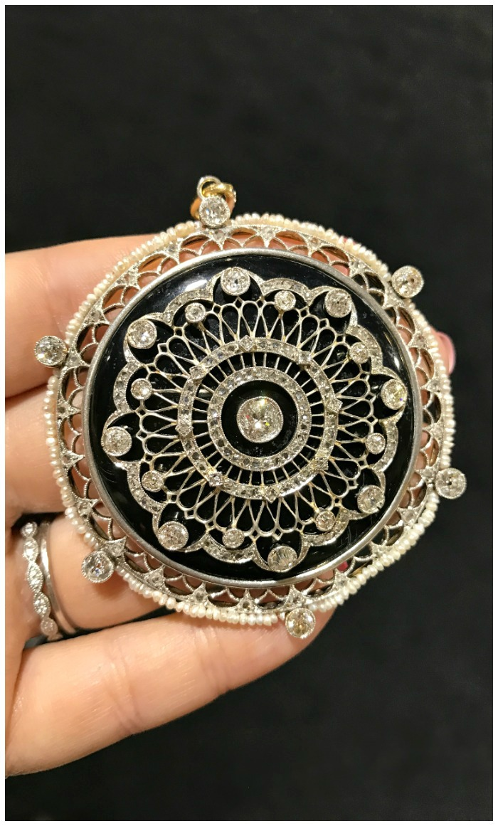 A stunning antique pendant with diamonds and pearls. Seen at Craig Evan Small, at the Original Miami Antique Show.
