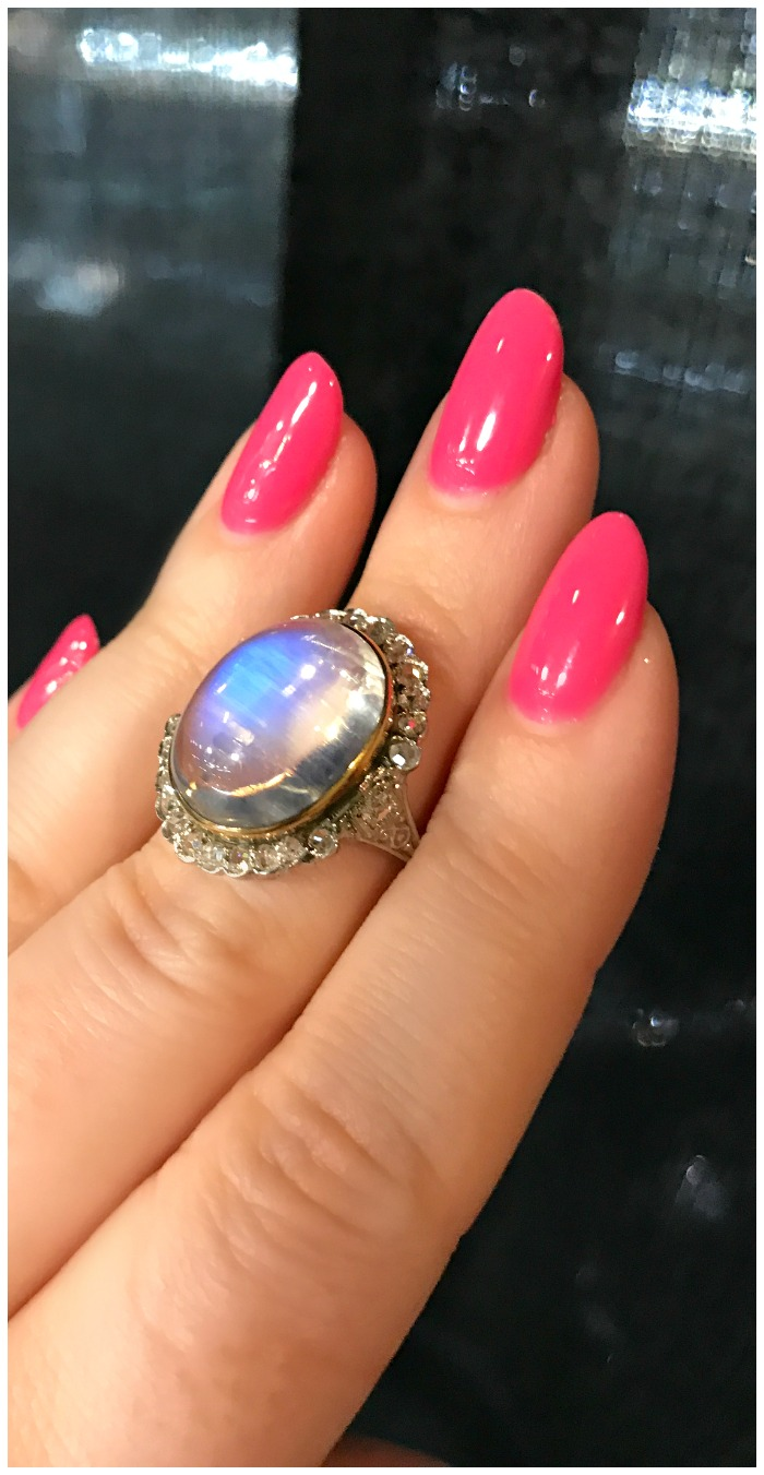 An exceptional antique moonstone and diamond ring. Spotted at Marilyn and Co.