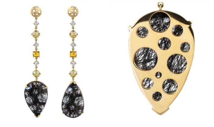 Back detail; Dana Bronfman black rutilated quartz Oculus mismatched earrings with white and yellow diamonds (4.45 tcw).