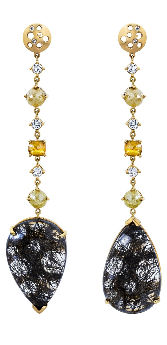 Dana Bronfman black rutilated quartz Oculus mismatched earrings with white and yellow diamonds (4.45 tcw).