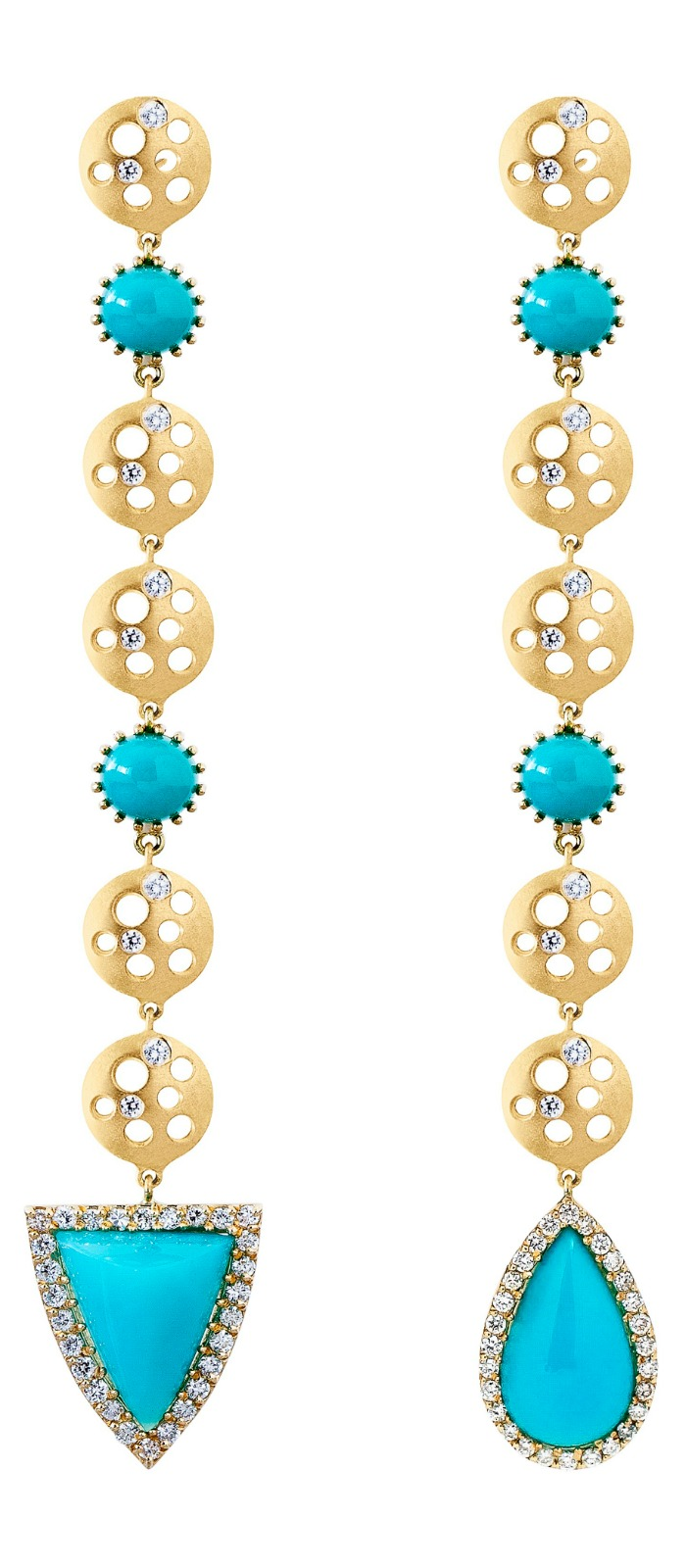 Dana Bronfman chrysocolla and coin earrings with 8 cts chrysocolla and .5 cts diamonds in 18K yellow gold.