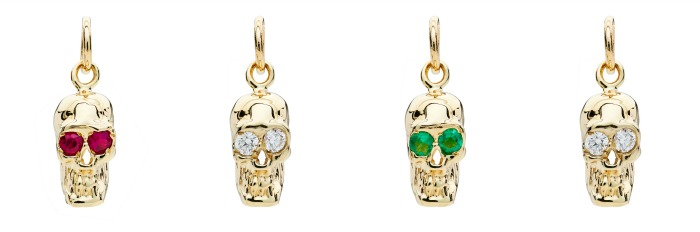 I love these Alexis Kletjian skull charms! In yellow gold with diamonds, emeralds, or rubies.