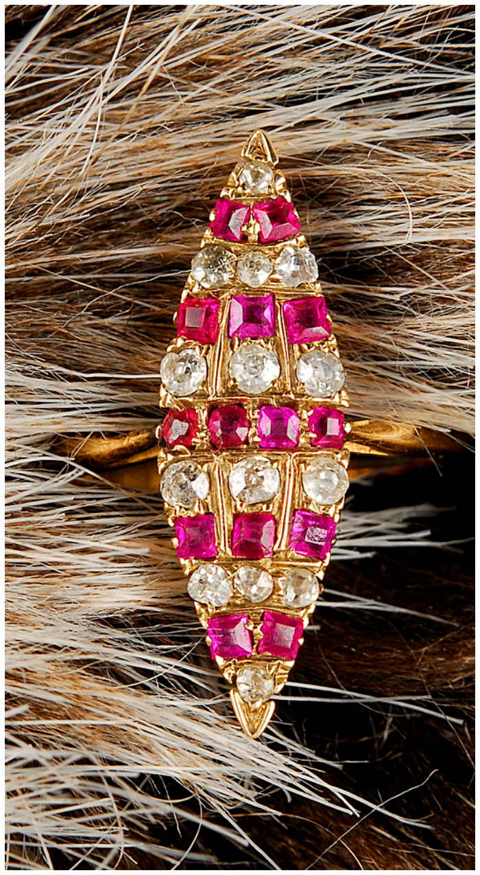 Oh, how I love this ring! It's vintage, from the early 1900's. Rubies and diamonds in gold.