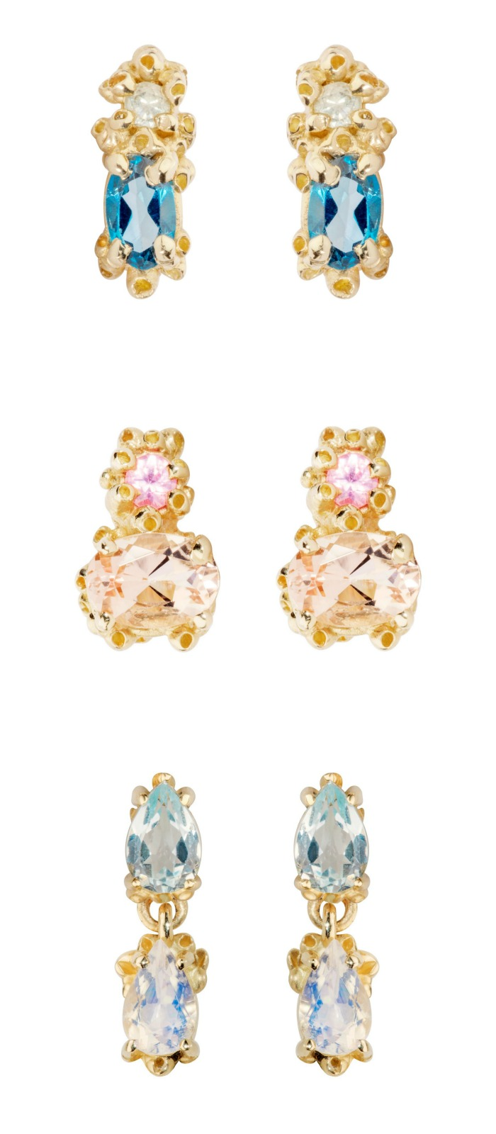Pretty little gemstone stud earrings by Ruta Reifen! Handmade in yellow gold with gemstones.