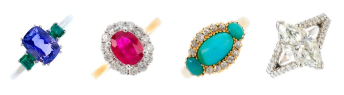Rings from the upcoming May jewelry auction at Fellows.